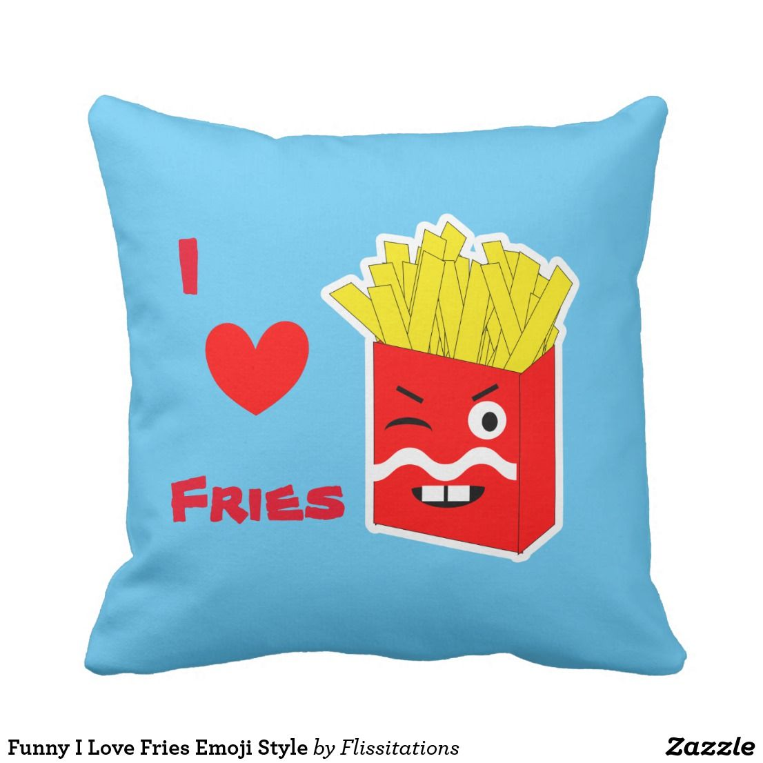 Funny i love fries emoji style throw pillow emoji pillows pinterest