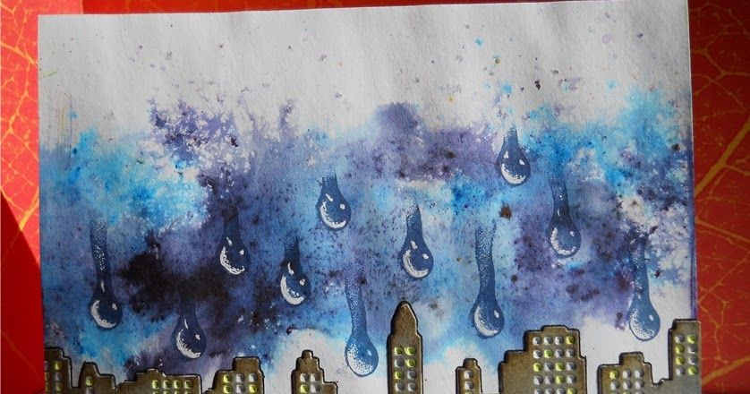 ArtCardBox: Here comes the rain again using Designs by Ryn: Trickling Water Set stamps