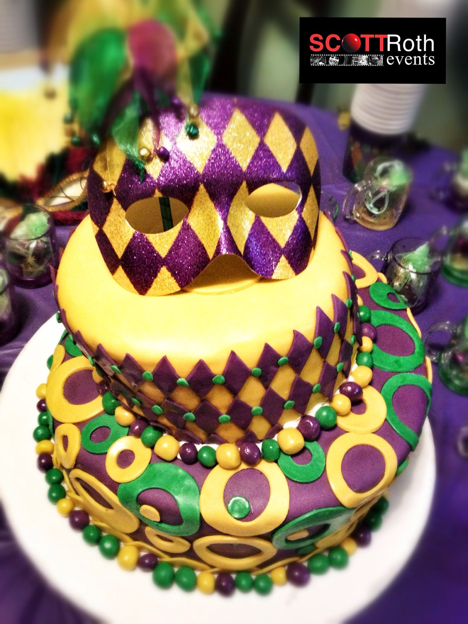 Mardi Gras Themed Sweet  Birthday Cake