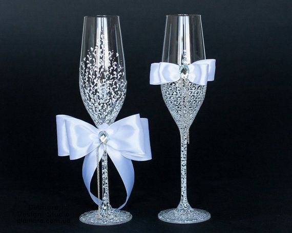 White Wedding glasses LACE decorated by hand by DiAmoreDS on Etsy