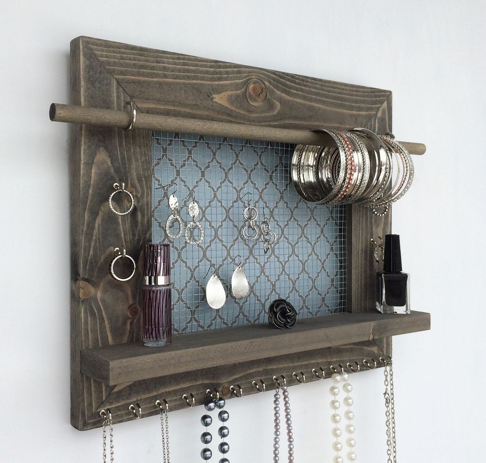 Wood Jewelry Organizer Wall Hanging Display Holder Necklace Earring