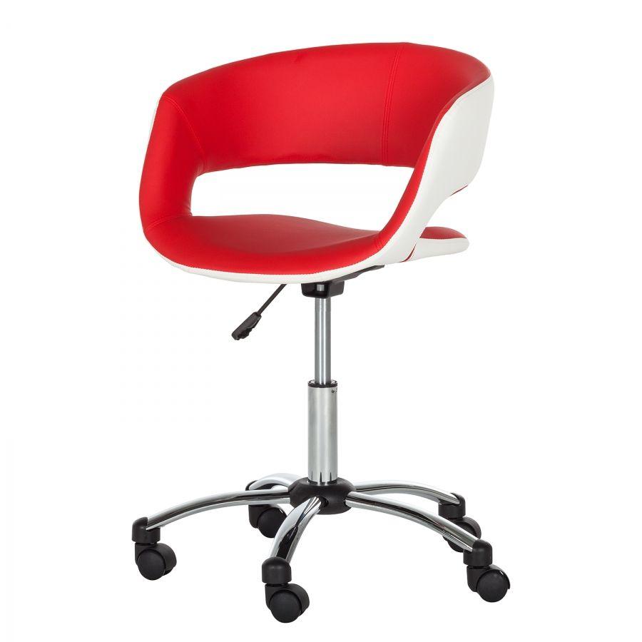 Cuir Prace Chaise De Pivotante Bureau Rouge Imitation Blanc E9HYDIe2bW