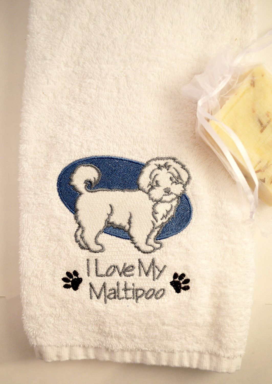 Embroidered Maltipoo Hand Towels Gifts Under 20 Gift For Dog Lovers White Terry Cloth Towel By HoundStreetBoutique On Etsy