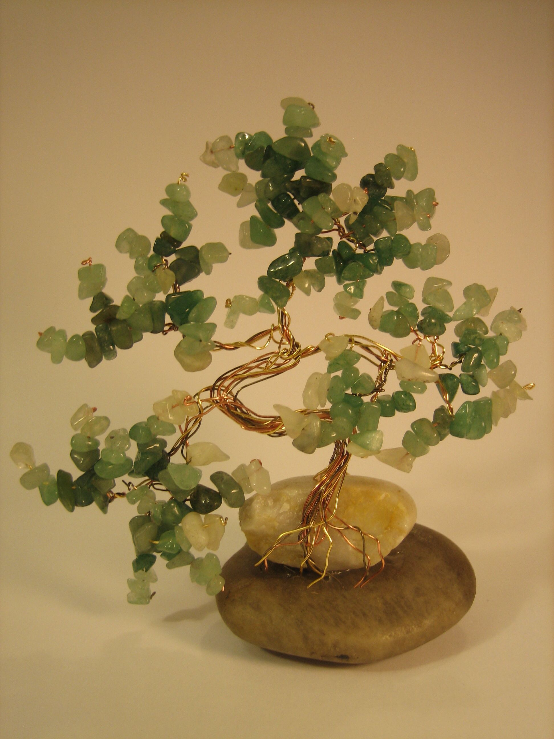 Aventurine And Jade Bonsai Style Tree With Copper Core Wire Branches Wiring Stone Base