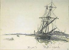 Art Print - Sailboat Moored In Port Of Honfleur - Johan Barthold Jongkind 1819 1