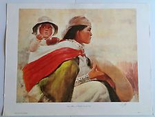 Signed Limited Edition Art Print, Navajo Mother and Child by Donald Zolan