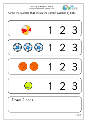 Count Up To 3 Objects Balls Counting Worksheets Kindergarten Math Worksheets Counting Objects
