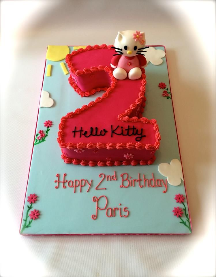 Hello Kitty inspired second birthday cake by www facebook