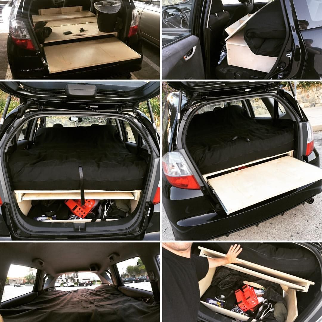 honda fit camper bed frame places pinterest camping rv and camping box. Black Bedroom Furniture Sets. Home Design Ideas