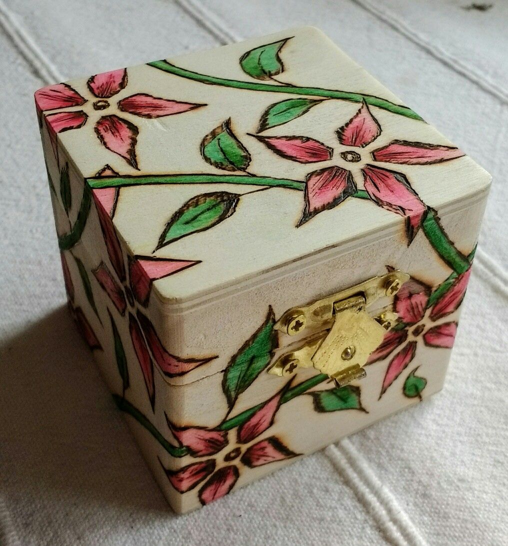 Small Wooden Box With Pyrography Decoration Inside And Out With A Hand Coloured Tint Hand Painted Wooden Box Painted Wooden Boxes Small Wooden Boxes