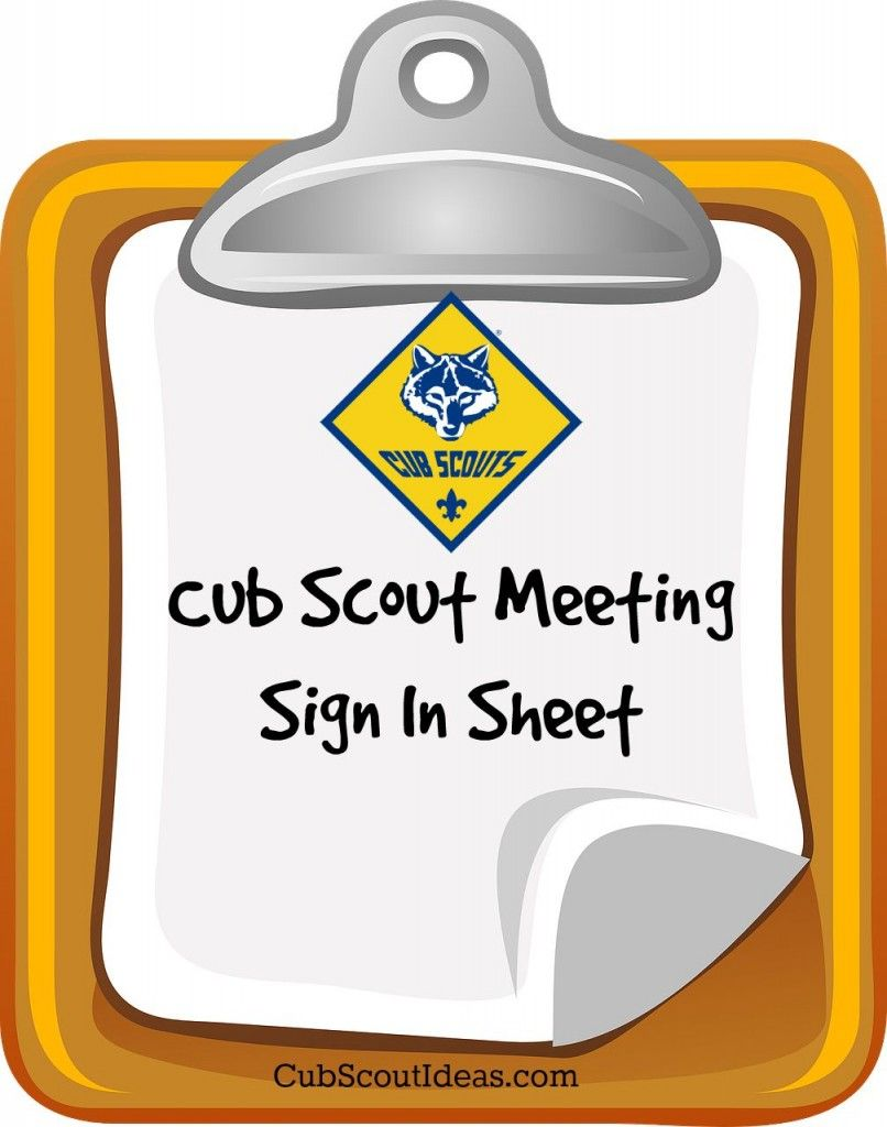 Attendance Sheet for Cub Scouts