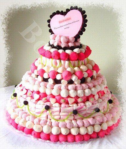 Gateau avec cascade de bonbons
