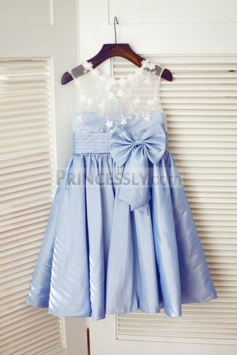 Ivory lace blue taffeta wedding flower girl dress flower girl