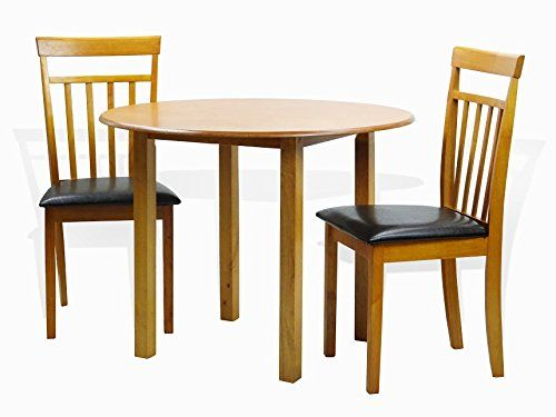 Dining Kitchen Set of 3 Round Table and 2 Classic Solid Wood Chairs