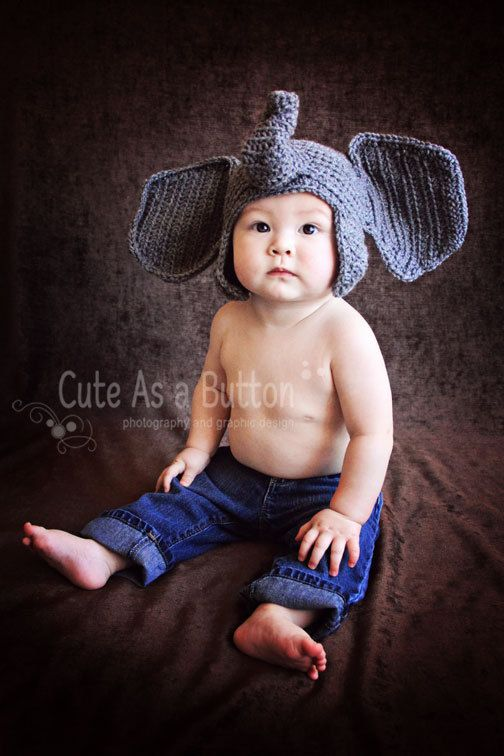 491c537ad64 Crochet Infant Elephant Hat with Floppy Ears (Great Photo Prop ...