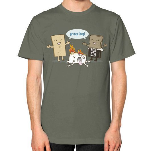 Funny S'mores Group Hug! Unisex T-Shirt (on man)