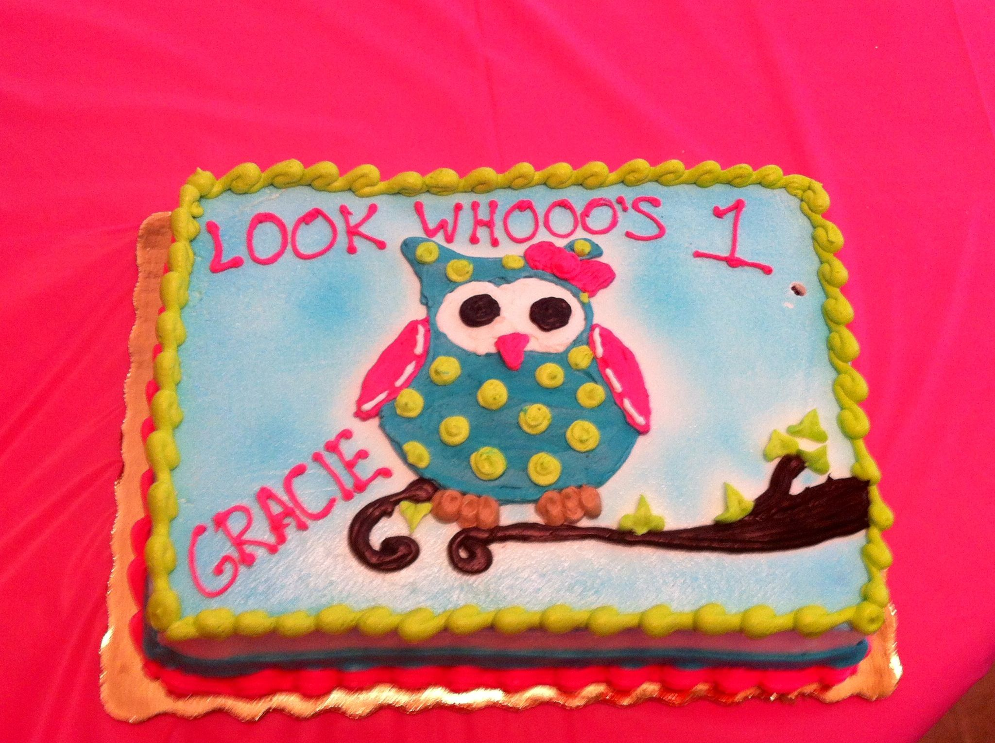 Owl First Birthday Cake The Cake We Ended Up Making Thank You