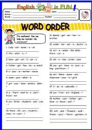Word Order 1 worksheet - Free ESL printable worksheets made by ...