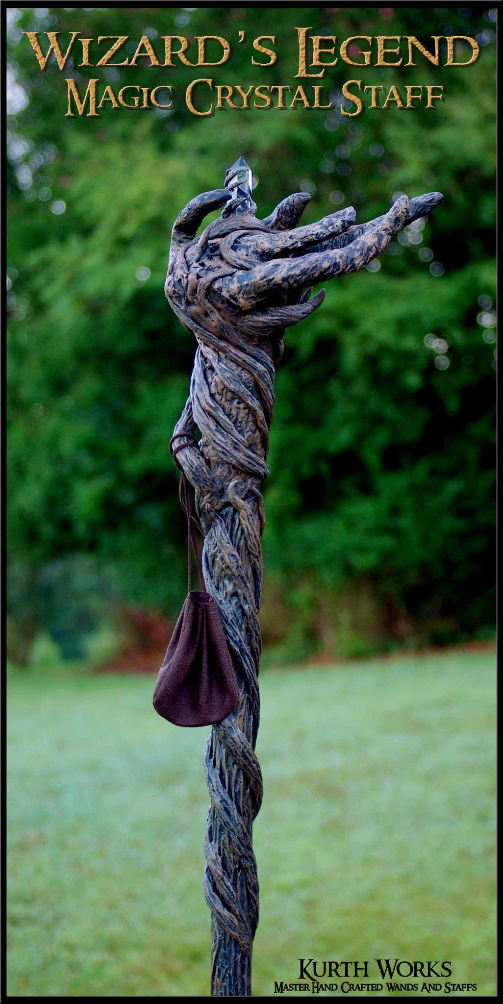 Wooden staff designs kurth works custom hand carved magic wizard wands - Wizard S Legend Crystal Magic Root Staff 2