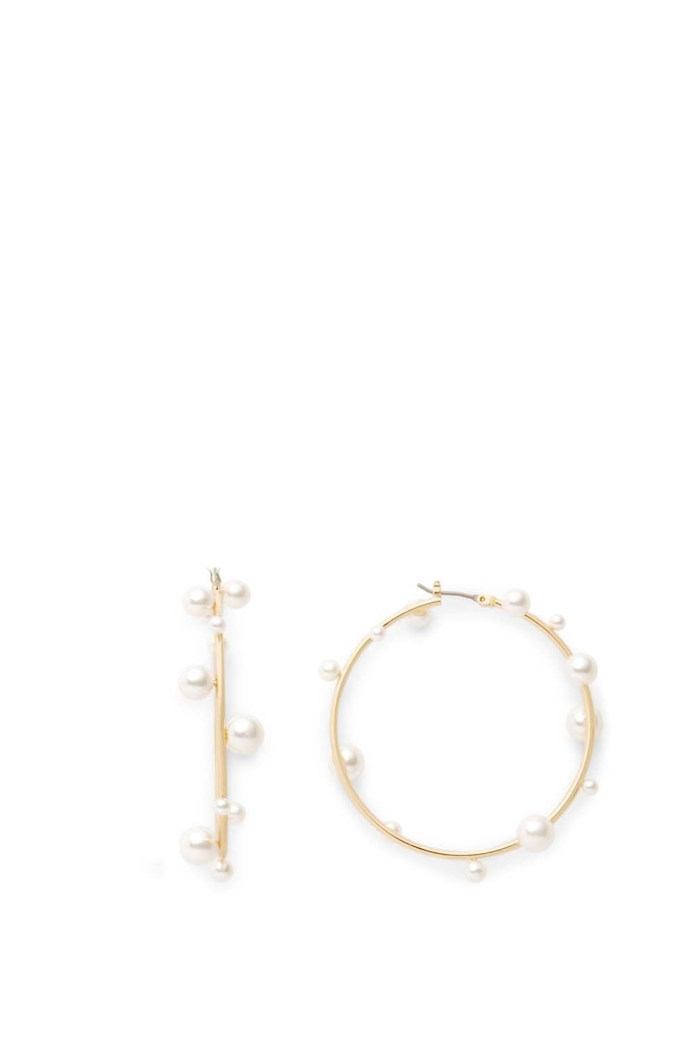 5f5a6fcb4b516 Sophia Floating Pearl Hoops | Wild Thing | Pearls, Gold hoops, Gold ...