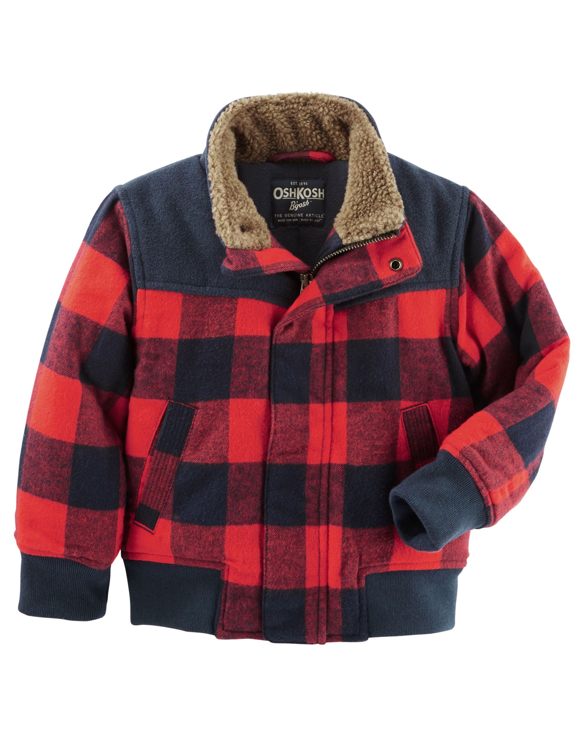 a8e2d35a250f Toddler Boy Buffalo Check Bomber Jacket
