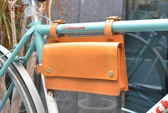 Vintage Bike Pure Leather Front Handlebar or Saddle Big Handle Bag 3L Let-going
