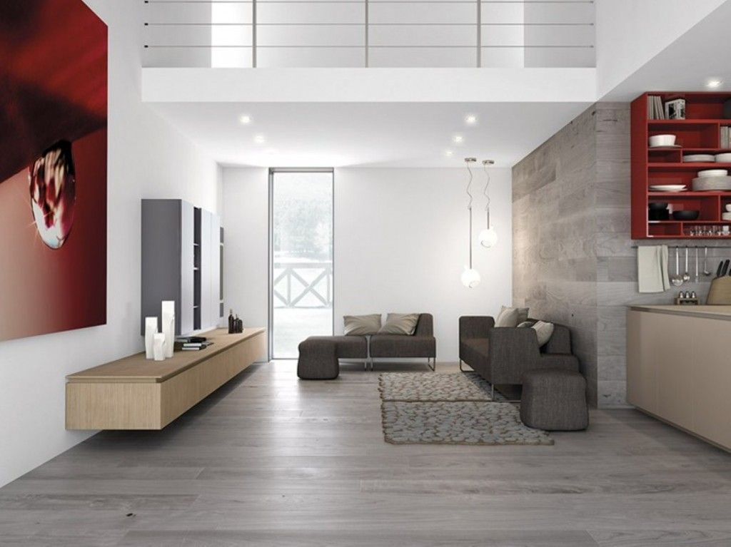 Kitchen gray low modern sofa wooden floors maple floating for Modern minimalist living room