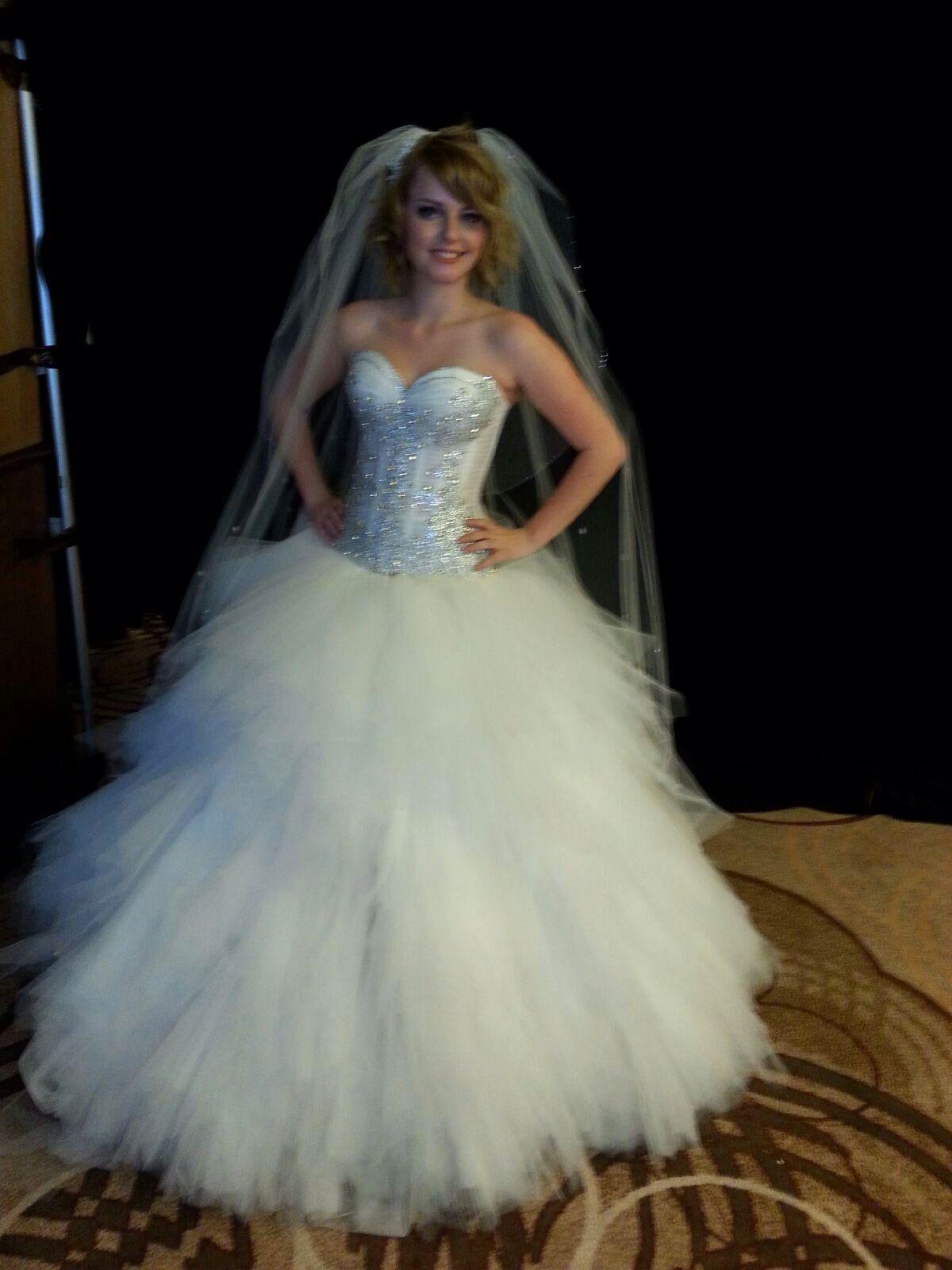 Huge ball gown corset tulle bling wedding dress wedding