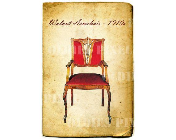 Vintage Furniture 1910s Walnut Armchair Digital by OldiesPixel