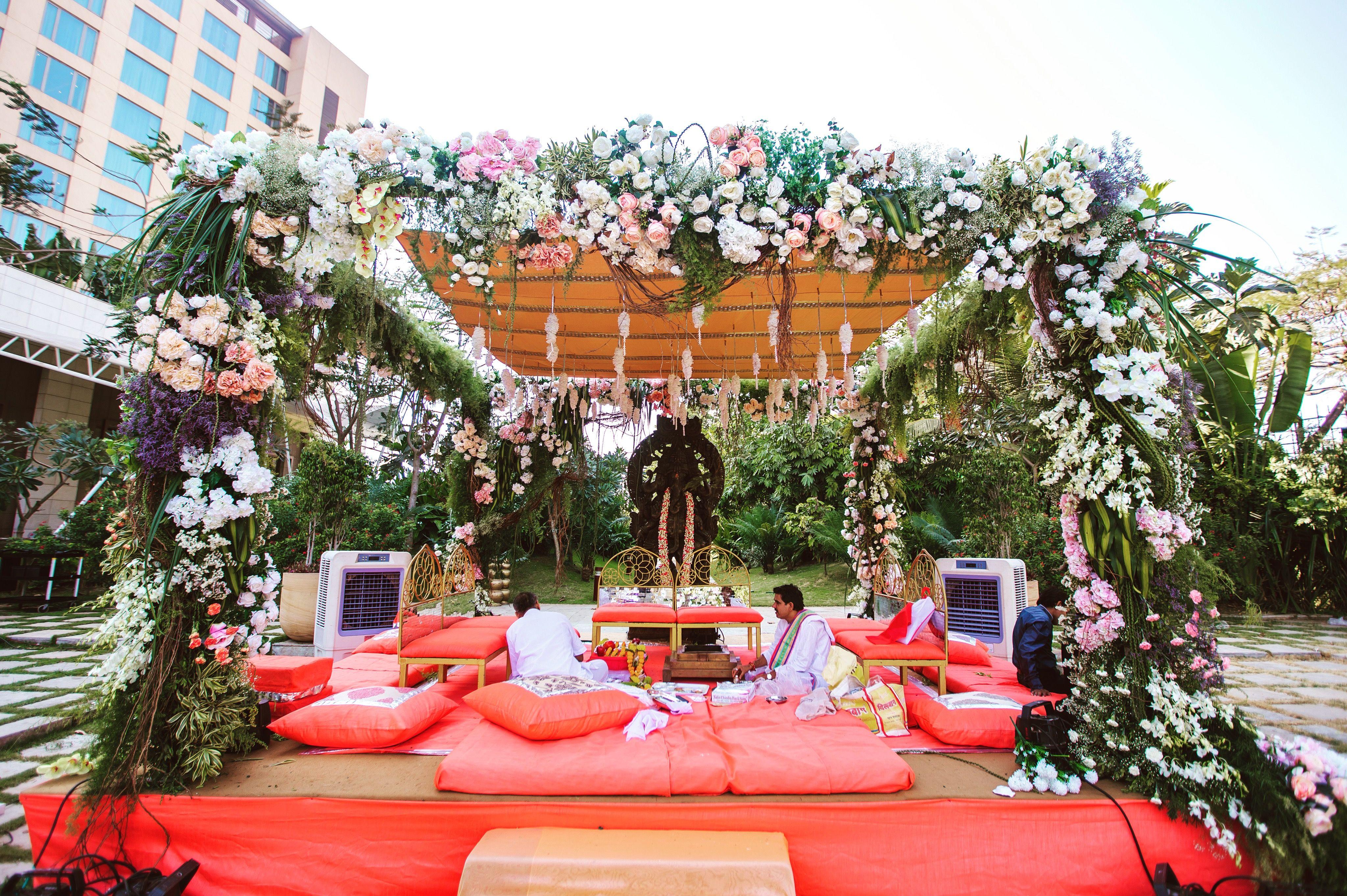 Wedding mandap decoration images  Soft colours and pastel florals for a divine Mandap  Wedding Design