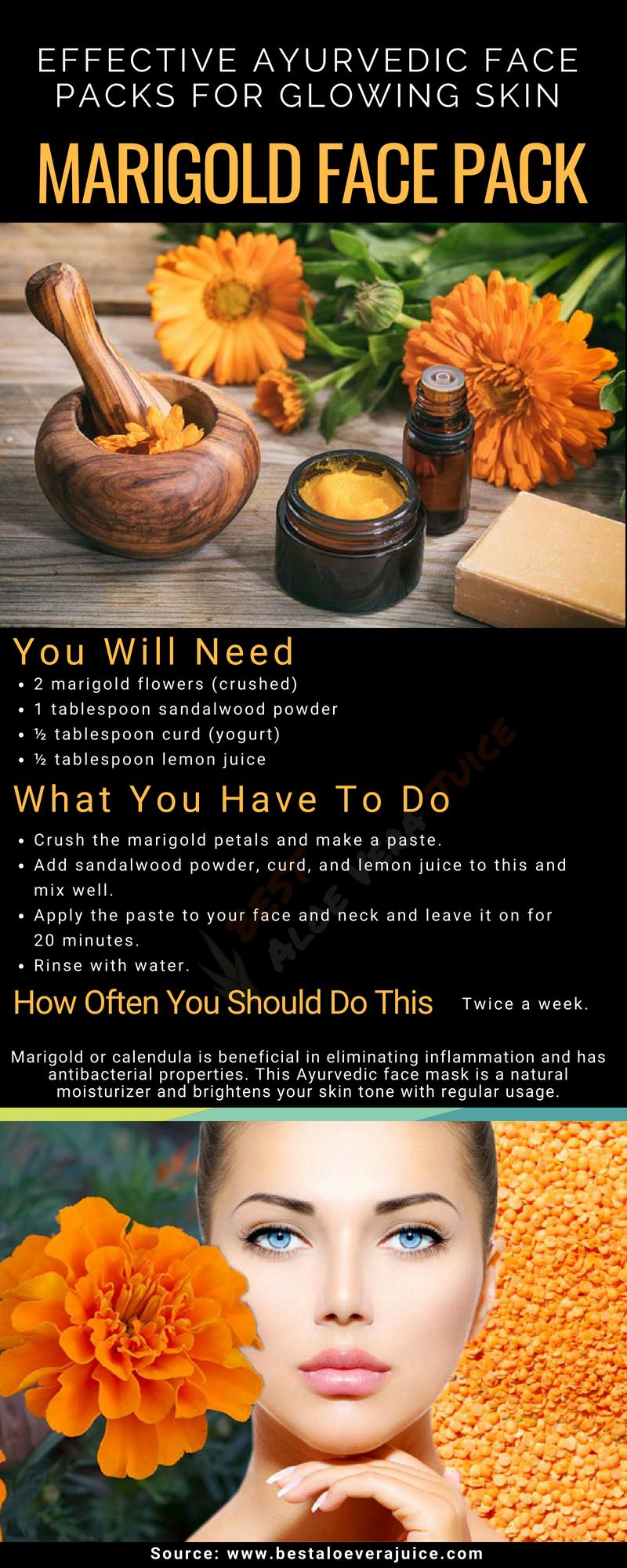 Effective Ayurvedic Face Packs For Glowing Skin #Marigold