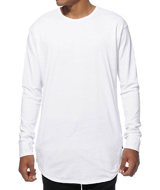 EPTM. Elongated Basic Drop Tail Long Sleeve T-Shirt | Shirts ...
