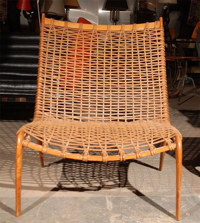 Lovely 1stdibs.com | Teak And Woven Leather Lounge Chairs
