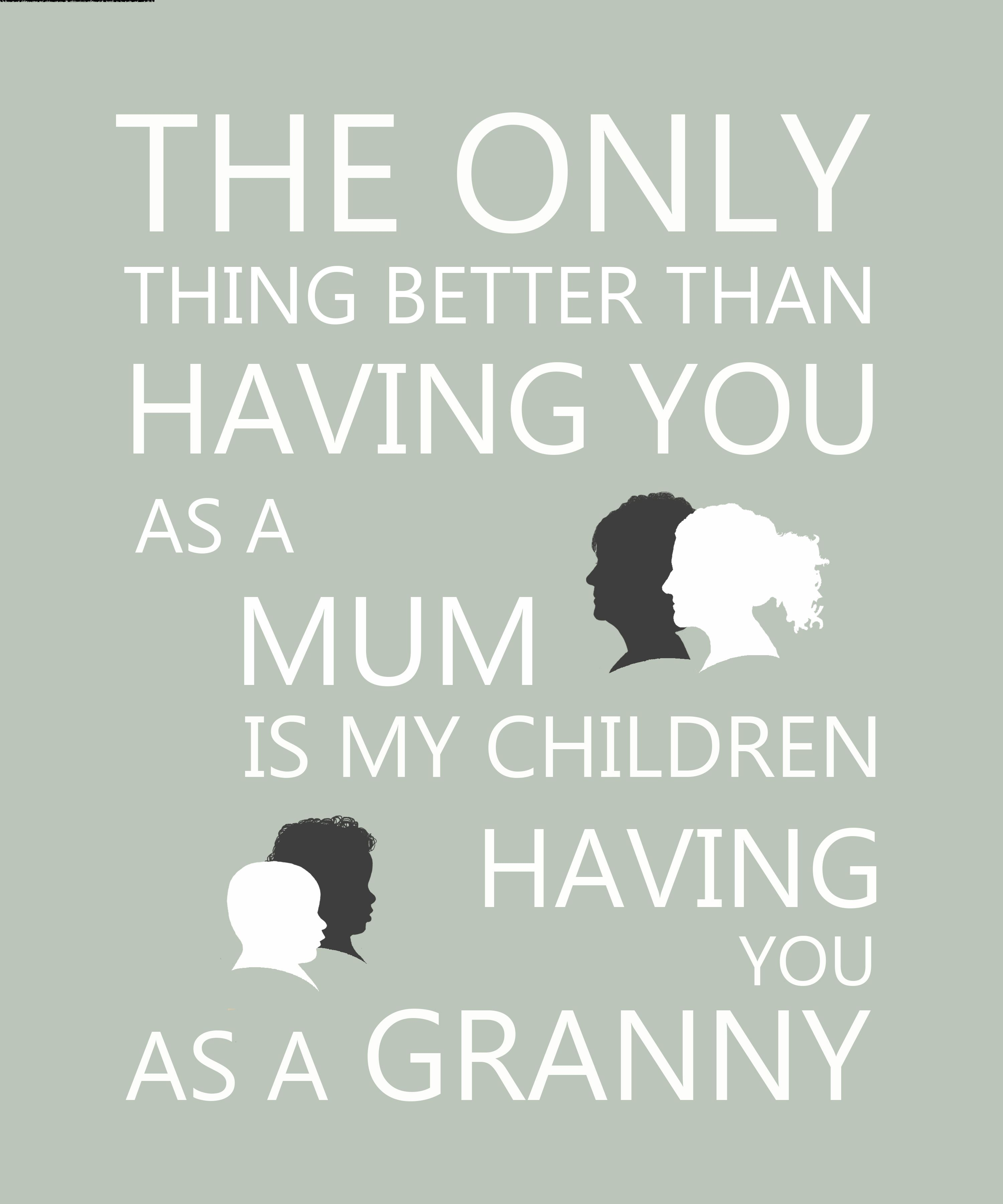 Mother's day gift for Granny. Personalised silhouette