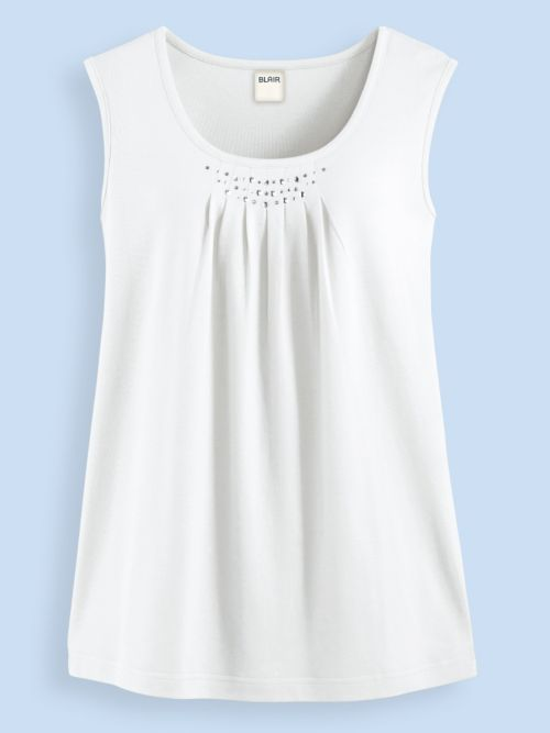4476bc8a7c1f40 Pleated Tank Top - <p> Shimmery embellishments at the scooped neckline.  Approx. 27