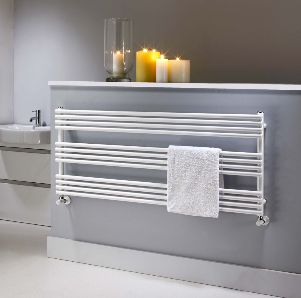 Natasha ladder rail straight modern electric towel radiator in chrome - The Radiator Company Bdo 25 White Horizontal Towel Radiator
