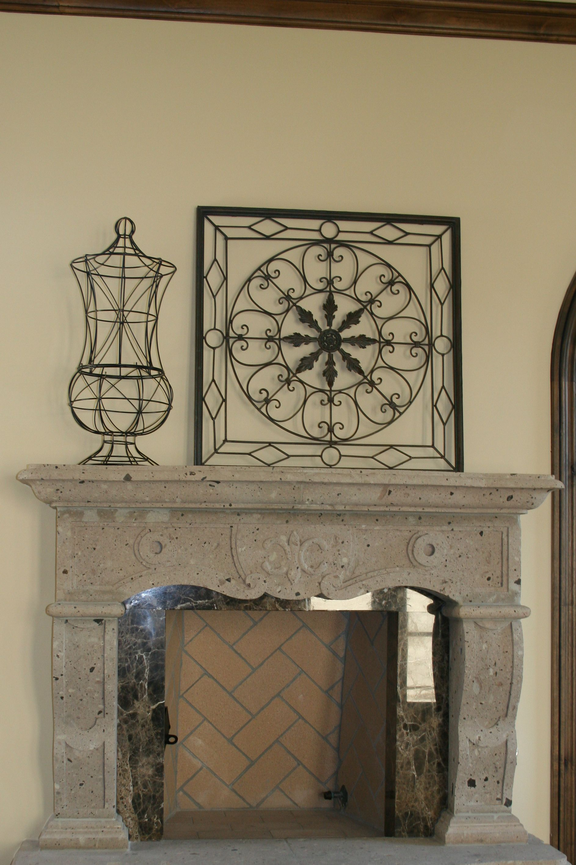 Iron Decorative Wall Pieces Beautiful Combination Of Cantera And Marble Surround  Fireplaces
