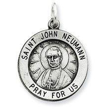Antiqued Saint John Neumann Medal, Charm in Sterling Silver