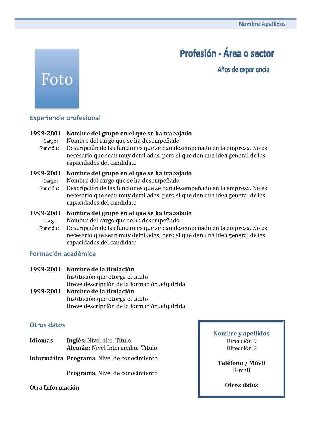 Currículum Vitae Cronológico: Modelo 1 … | Pinteres…