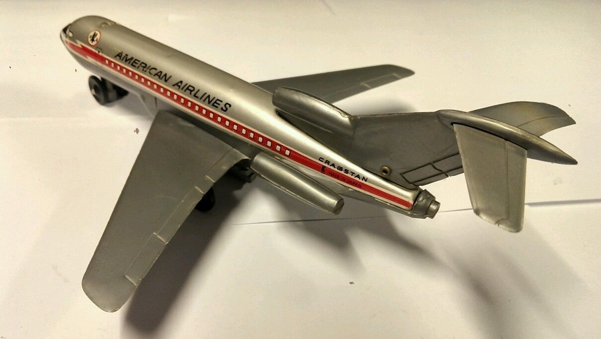 Vintage Cragstan Tin Friction American Airlines Airplane Works Plane Toy Japan | eBay