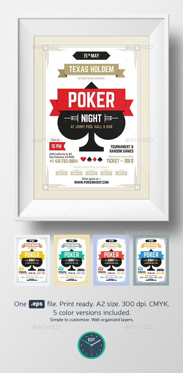 Poker night poster template | Casino Infographics | Fundraising ...
