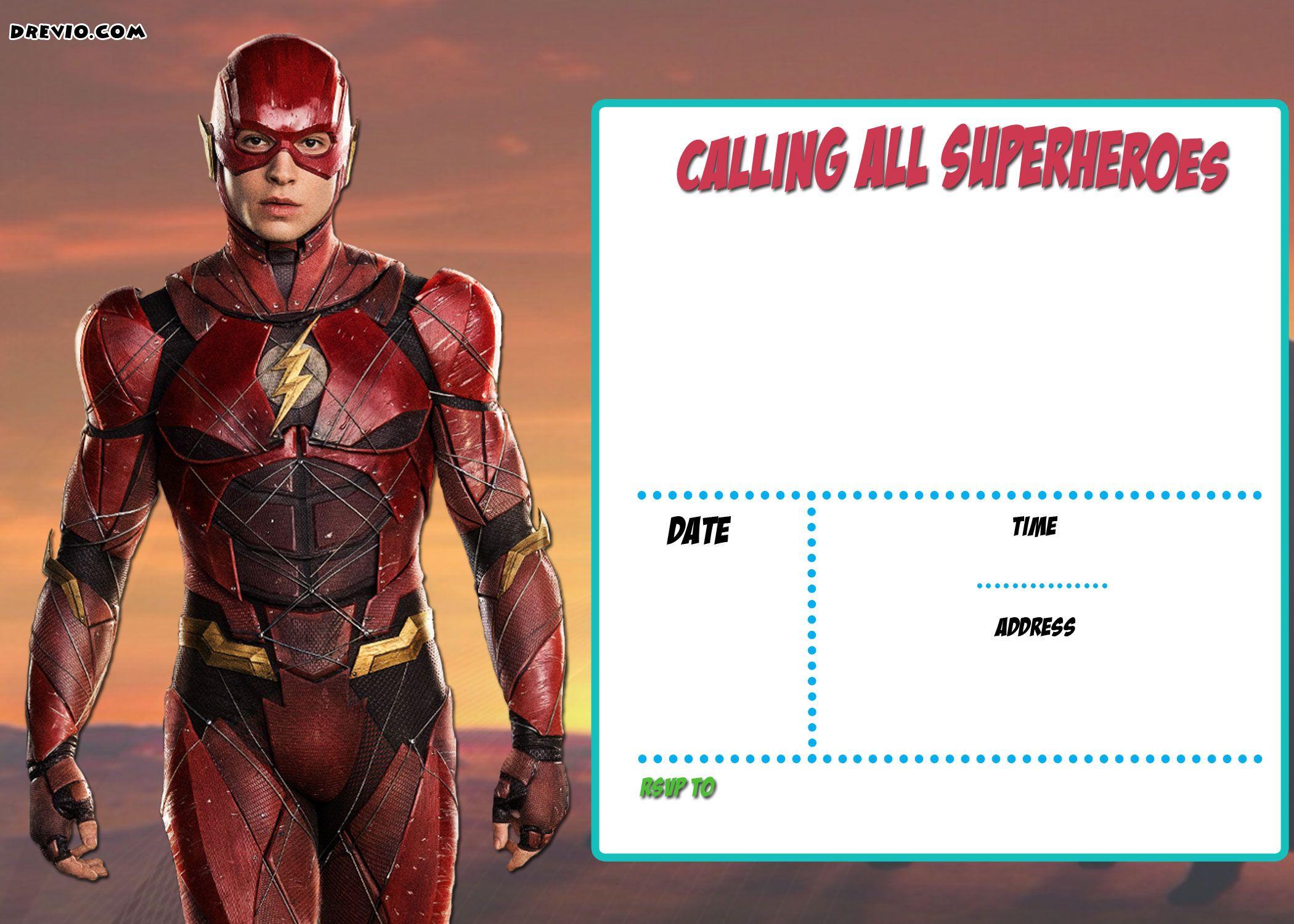 FREE Printable Justice League Invitation Template
