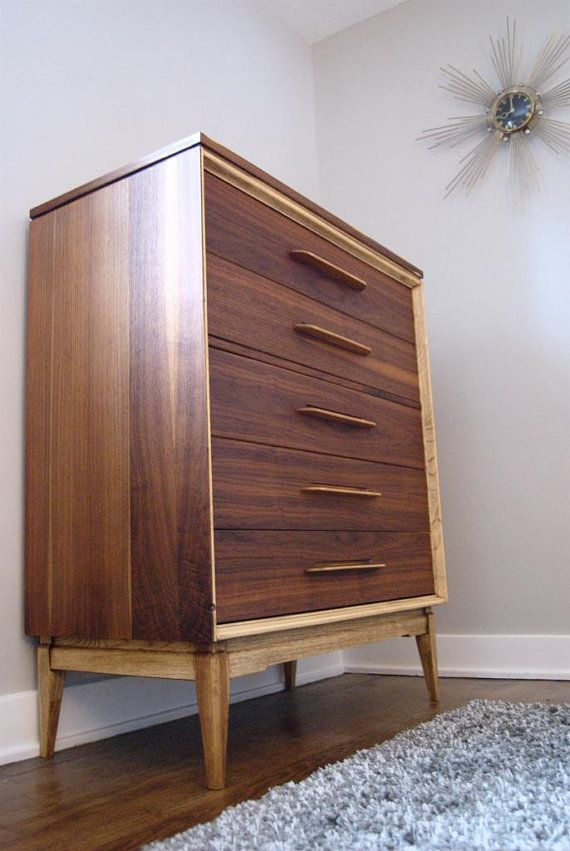 triple mcm long tv hot chest vintagepopandvice century dark media drawers sale credenza danish bassett paceline shop of dresser walnut mid etsy by console modern