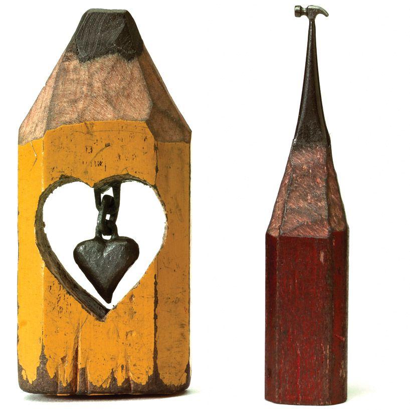 Dalton Left To Right Hanging Heart And Big Hammer Miniature - Artist carves miniature pop culture sculptures into pencils