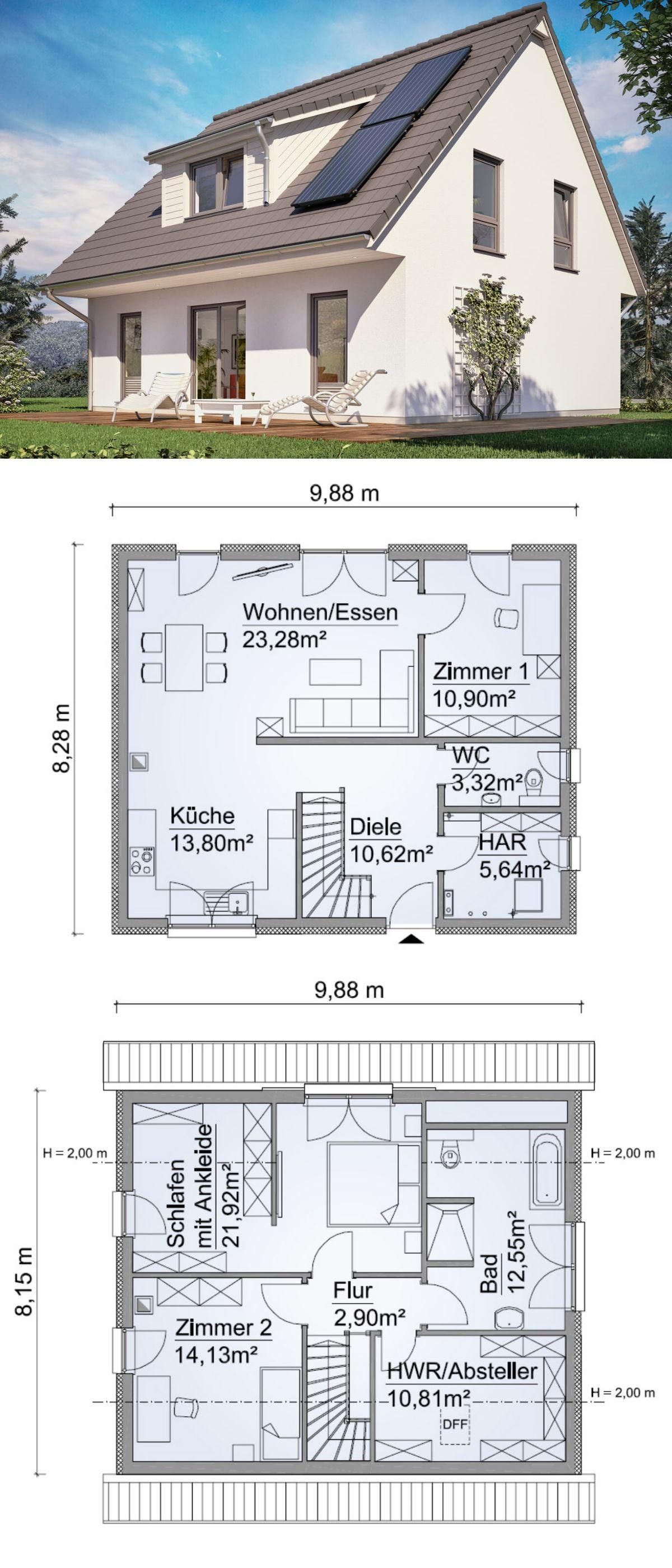 Klassisches Einfamilienhaus Grundriss 130 Qm Mit Satteldach