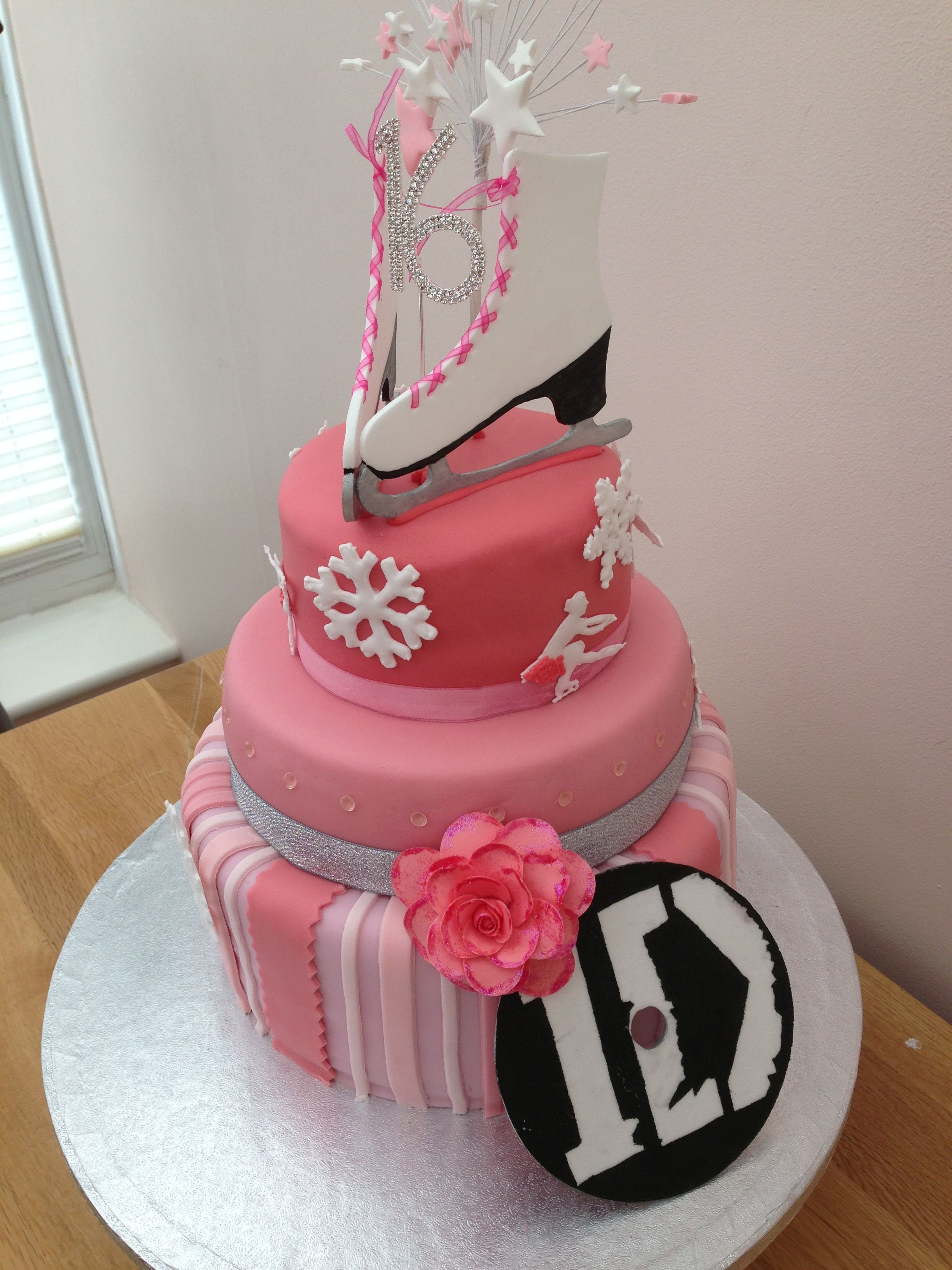 Sweet 16 Ice Skating Themed Cake With That Token One Direction