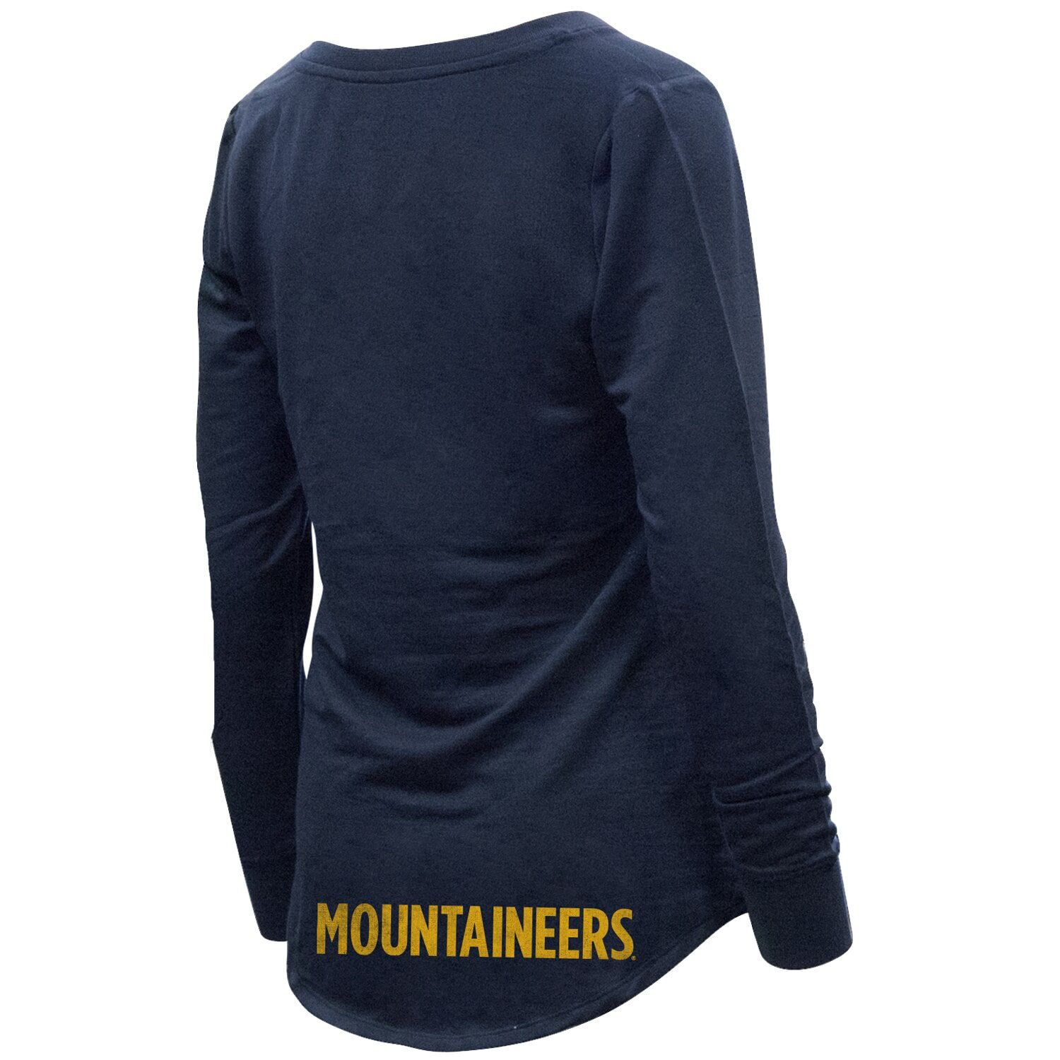 Women's Navy West Virginia Mountaineers Belle Relaxed Tri-Blend V-Neck Pullover Sweatshirt #westvirginia
