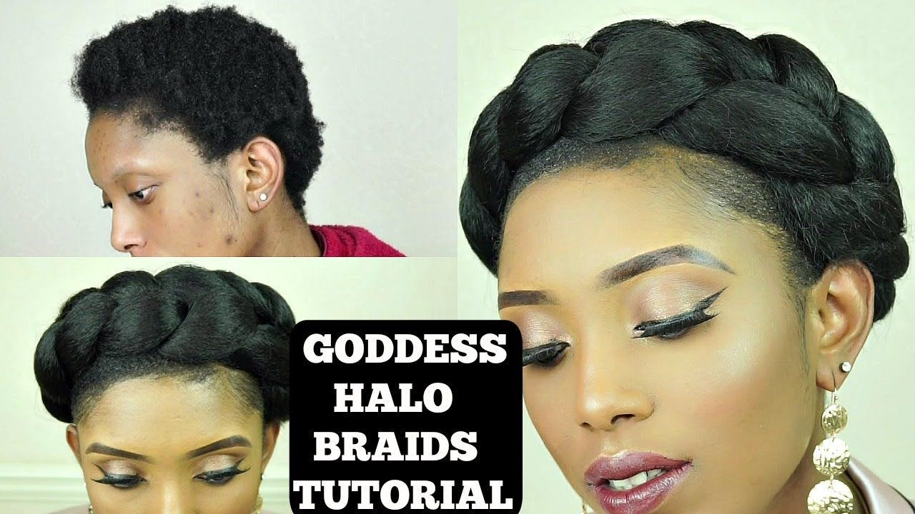 How To Easy Goddess Crown Halo Braids Tutorial On Short 4c Natural