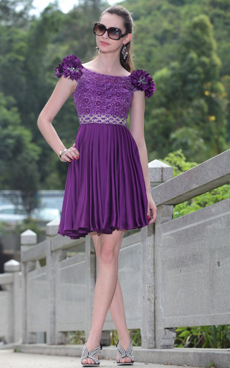 Short princess style silk petal sleeve banquet dress the bride