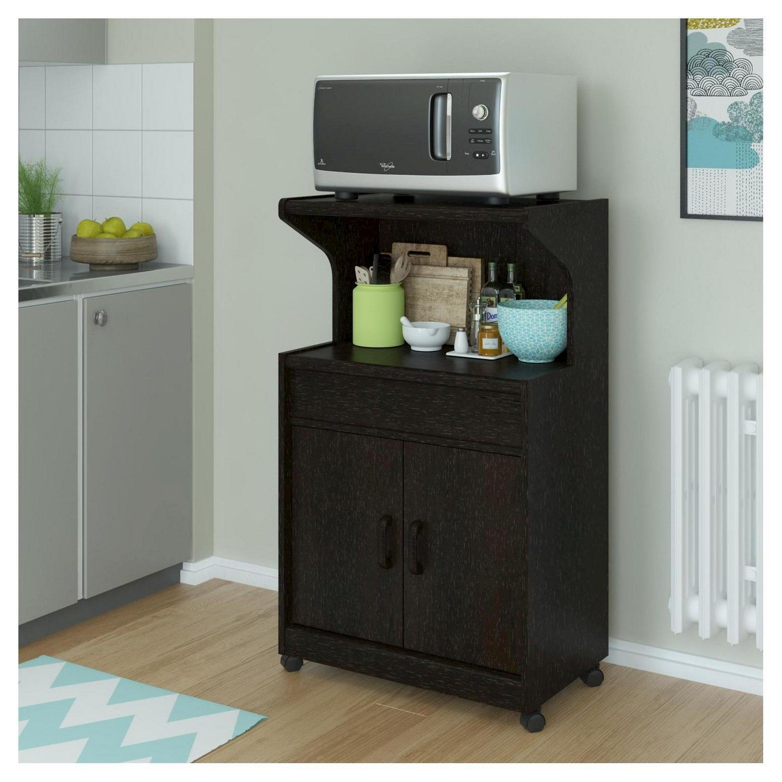 Cumberland Microwave Cart With Shelf Espresso Room Joy Microwave Cart Kitchen Storage Shelves Microwave Cabinet